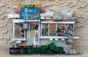 """Mixed Media Wood Collage """"Route 7 Diner"""" Geo Wazenegger Listed Modernist Artist"""