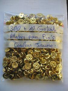Lot de 300 Attaches d'occasion de couleur jaune + 10 gratuites pour vos pin's
