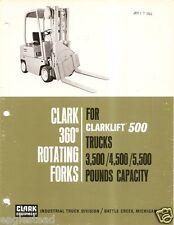 Fork Lift Truck Brochure - Clark - M-5 360 Rotating Clarklift 500 c1968 (Lt86)