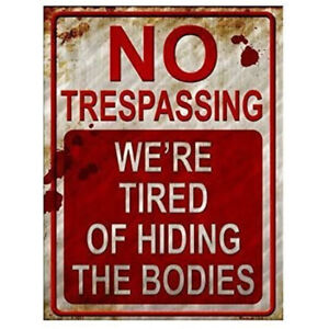 Vintage No Trespassing Metal Tin Signs Home Wall Farmhouse Shop Decor Tin Si HB