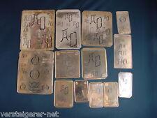 13 x AO Merkenthaler Monogramme, Kupfer Schablonen, Stencils, Patrons broder