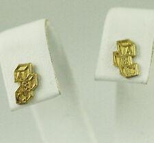 10kt Yellow Gold ABC Block Earrings (cute new studs, 0.85 grams) #00001588