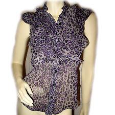 MILEY CYRUS Womens Sleeveless Ruffle Button Down Shirt Top S Animal Print Purple