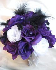 Wedding Bouquet Bridal Silk flowers PURPLE WHITE SILVER BLACK FEATHERS 17 pieces