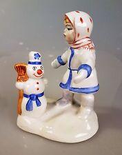 Russische Porzellanfigur Mädchen und Schneemann Porzellan !
