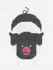"*New* Charley Harper ""Hampshire Pig"" handpainted Needlepoint Ornament Meredith"