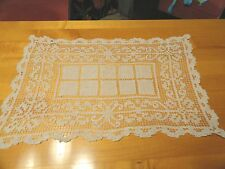 Ivory Doily 16.5x10.25 in. Crocheted Curly-Q's Surround a Center of Squares