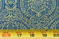 By 1/2 Yd, Vintage, Blue Scrolls & Flowers on Tan Quilt Cotton, RJR/Beyer, B1195