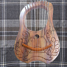 Engraved Lyre Harp Sheesham wood 10 Metal Strings Free Carrying Case + Key