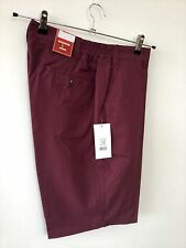 Mens Shorts (32) wine RRP £24.99 golf tailored elastic classic smart carabou