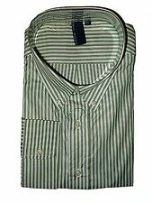 TRUE ROCK Men's Dress Shirt XL White / Light Green Stripes Long Sleeves JFK124