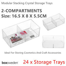 24x Clear Acrylic Compartment Organizer Storage Container 16x8cm Makeup Tray Box