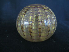 Vintage Murano Paperweight Clear W/Gold Flecks Swirl Signed Barovier