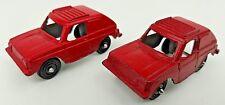 (2) Vintage Tootsietoy Mini VW Volkswagen Red Rabbit Golf Metal Diecast Toy Cars