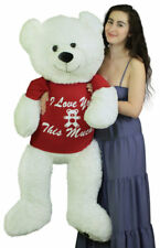 Giant Teddy Bear 52 Inch White Soft, Wears Removable Tshirt I Love You This Much