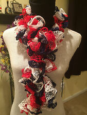 Handmade Crochet Scarf, Red White & Blue, Buffalo Bills, New York Giants