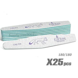 EzFlow Grey Fox Nail Files 180/180 - 25ct for acrylic UV gel Dip powder