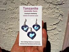 Tanzanite Aura Quartz-Heart Pendant+Earrings Set-A Great Gift! Excellent Price!