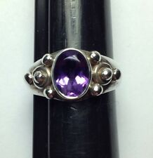 Sterling Silver Ring with Faceted Med Dark Purple Amethyst Stone 6.75 USA Size
