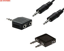 3.5mm 1m male/male Audio Cable and Double/Airline Jack Adapter Set for Earphones