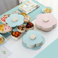 LN_ 2 Layers Flower Rotating Candy Box Dried Fruit Plate Snacks Serving Tray H