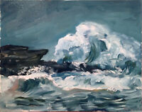 "Wave Seascape Ocean Oil Painting Impressionist 16""x20"" Original Signed"