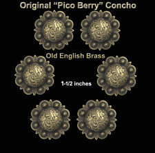 Lot Of 6 Conchos Old English Brass Pico Berry Western Rodeo Tack 1-1/2 ""