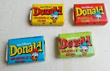VERY RARE Full Gum Vintage Chewing Bubble DONALD CHINA 4 pcs colours '80s