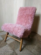 Fab Vintage Retro Mid Century Petite Pink Furry Cocktail Bedroom Accent Chair