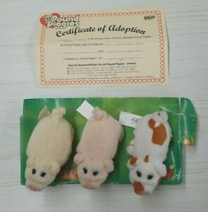 Pound Piggies THREE PIGLETS Set Vintage Plush NIB SEALED - Galoob 1997