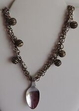 Vintage Silver Copper Multi Chain Metal Ball Beaded Spoon Pendant Necklace