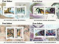 francobollo repubblica  avvento anno duemila serie completa 4 foglietti nuovi