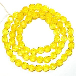 """CZ3212 Yellow 6mm Fire-Polished Faceted Round Czech Preciosa Glass Beads 16"""""""