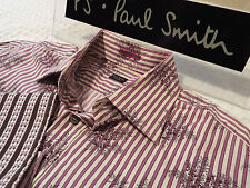"PAUL SMITH Mens Shirt 🌍 Size 16"" (CHEST 44"") 🌎 RRP £95+📮 STRIPED FLORAL STYLE"