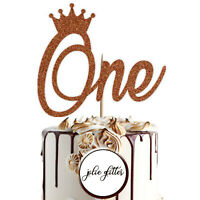 Cake Topper Personalised Custom Birthday One 1st 2nd First Child Glitter Crown 1
