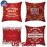 """Throw PILLOW COVER Xmas Red White Merry Christmas Decorative Cushion Case 18x18"""""""