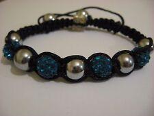 Blue/silver bracelet,costume jewellery, hematite,shamballa style,stocking filler