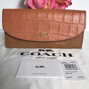 Coach F27482 Slim Envelope Crossgrain Leather Wallet Light saddle Multi $275🌸