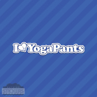 I Love Yoga Pants Heart Vinyl Decal Sticker