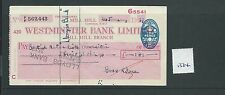 wbc. - CHEQUE - CH1334- USED -1956/57- WESTMINSTER BANK, MILL HILL, LONDON NW7