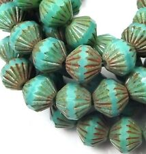 25 Czech Glass Fluted Beads - Opaque Turquoise Picasso