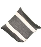 Cashmere Cushion Cover Pillow Cases Beige Stripes on Charcoal Grey Buttoned Home