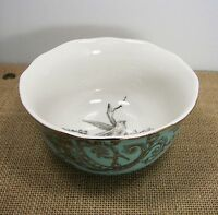 222 Fifth Adelaide Cereal / Soup Bowl Turquoise Gold Bird Floral French Toile