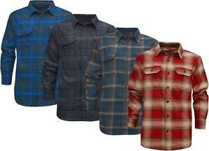 Mens Heavyweight Flannel Shirt Lumberjack Double Brushed w/ Hand Warmer Pockets