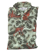 Old Navy Shirt XXL Slim Stretch Novelty Hawaiian Tiger Palm Tropical Jungle Mens