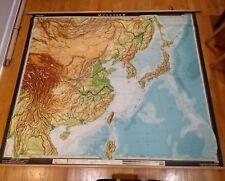 Vintage Harms mid-century Far East Asia Map School Pull Down China Japan Korea