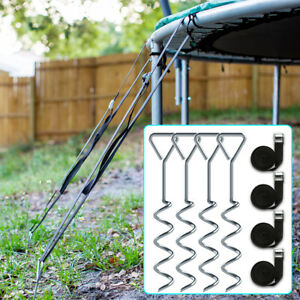 4pcs Trampoline Anchor Kit with Tie Downs Universal Ground Anchor Wind Stakes