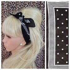 BLACK WHITE POLKA DOT STRIPE PRINT BANDANA HEAD BAND HAIR NECK SCARF RETRO STYLE