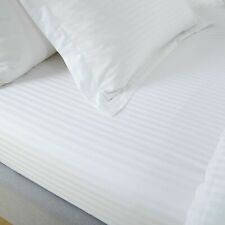 100% EGYPTIAN COTTON SATEEN 250TC WHITE SATIN STRIPE  FITTED SHEET HOTEL QUALITY