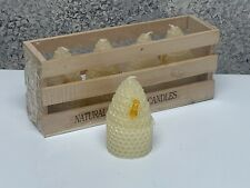 "(4) Natural Beeswax Candles In Wood Crate With Bee 3""  NEW"